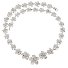 Sterling Silver Plumeria CZ Necklace 10 ~ 18mm Necklace