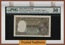TT PK 18a ND (1937) INDIA RESERVE BANK 5 RUPEES GEORGE VI PMG 50 ABOUT UNC!