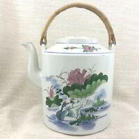 Vintage Cinese Ceramica Acqua Trasportatore Grande Bollitore Decorato a Mano