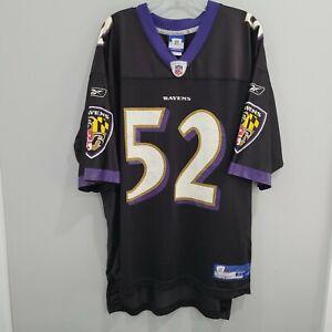VTG Reebok NFL Baltimore Ravens Ray Lewis 52 Football Jersey Mens XL Black