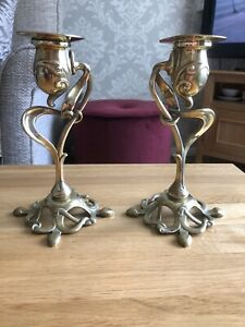 C1895 Sold Brass Art Nouveau Candle Sticks And Sconces Rd ? & Makers Daisy Mark