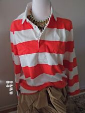 NWT J.Crew 1984 Rugby Shirt in Stripe Size XL Item G8325 Cerise Ivory