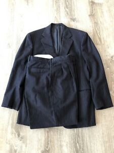 Cantarelli & C. Spa Pinstriped Suit Wool Cashmere Double Pleat 54 R 34 X 30