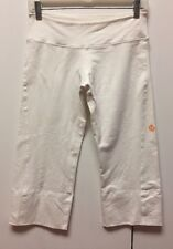 LULULEMON Capri Boogie Crop Pants, Split Back Legs, Slanted Side Seam, White  6