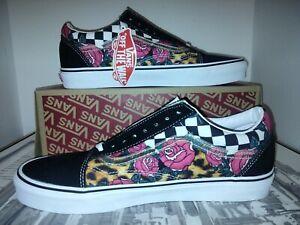 Vans Old Skool Rose Animal Print Check Checkerboard Men's Shoes Size 11