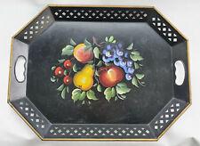 Vintage NASHCO TOLEWARE Metal Serving Tray, Hand Painted Fruit, Lattice Black NY