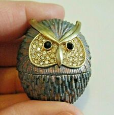 Vintage Jeweled Iridescent Enameled Owl Rucinni Egg Shape Pill Box