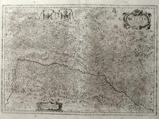 FRANKREICH ELSASS ALSATIAE STRASSBURG JANSSONIUS KARTE KARTUSCHE WAPPEN 1658