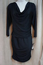 Nine West Dress Sz 8 Solid Black Funky Town 3/4 Sleeves Sides Gethered Cocktail