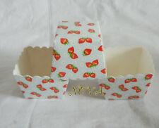 20pcs Red Strawberry Blue square muffin case baking paper cupcake