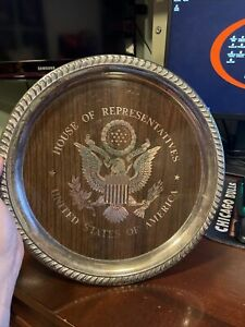 Vintage US House Of Representatives Silver Tray With American Eagle Seal