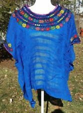 Huipil Mexican Blouse Top Sheer Embroidered Beach Chiapas One Size S M L XL A27