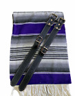 MOTORCYCLE BELT BLANKET HOLDER BIKER, MEXICAN,HAND MADE, REAL LEATHER, PURPLE