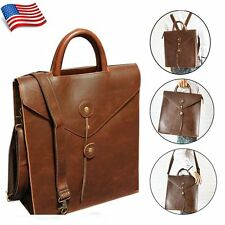 Men's Leather Briefcase Handbag Shoulder Messenger Backpack Crossbody Tote Bag
