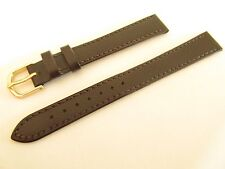 CONDOR BROWN CALF GRAIN LEATHER 14MM LONG WATCH STRAP GOLD BUCKLE 501L02