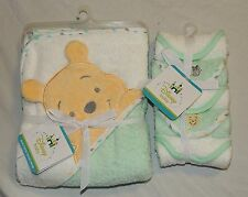 New Disney Baby Hooded Towel Winnie the Pooh 5 Washcloths Green Bear Bee Unisex
