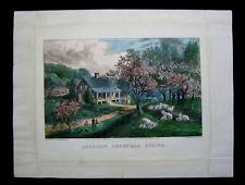1869 Original Currier & Ives Print American Homestead Spring Best 50 Full Margin
