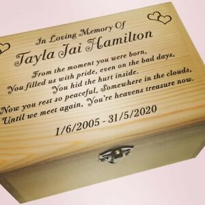 Wooden Box Engraved Cremation Urn Adult Memorial Urn For Ashes Large Ashes Urn