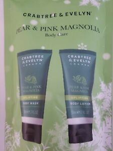 Crabtree & Evelyn Pear & Pink Magnolia Set Body Wash & Body Lotion 1.7 Oz Each