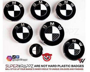 BLACK + WHITE CARBON FIBER BADGE CORNERS SET BMW M3 3 Series E90 E91 E92 E93 F20