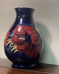 Large Vintage Cobalt Blue Moorcroft Anemone Vase 7.5 Inches Tall.