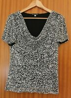 JACQUES VERT IVORY BLACK BEADED EVENING TOP CRUISE WEDDING  UK 12