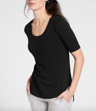 NEW ATHLETA WOMEN'S BLACK ELBOW SLEEVE BREEZY COMFY MODAL TEE TOP Sz XL