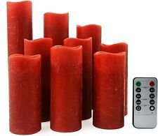 Set Of 9 Flameless Pillar  Candles Wick LED Timer Remote Safe To Use