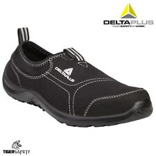 Delta Plus Miami Ladies Black Canvas Slip On Steel Toe Safety Trainers Shoes PPE