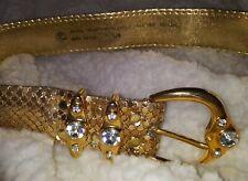 Vintage Belt S / M Retro Goldtone Metal Mesh Bling Ornate Rhinestone Buckle