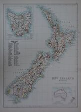 1897 NEW ZEALAND AND TASMANIA LARGE MAP