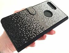 Faded Black Made with Swarovski Crystals Diamonds Gem Card Wallet Case Galaxy S7