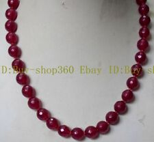 "Natural 8mm Faceted Round Red Ruby Beads Gemstone Necklace 18"" AAA"