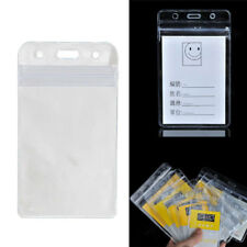 10 x Business Vertical Solid Vinyl Clear ID Card Badge Holder Case Cover Sleev
