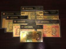 COA SET 24KT GOLD LIMITED EDITION COLOURED AUSTRALIAN PAPER BANK NOTE SET