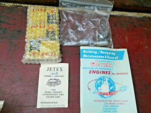 VINTAGE LOT OF JETEX MODEL ENGINES & SOLID FUEL CHARGES BUILDING & CARE MANUAL