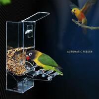 Acrylic Pet Parrot Bird Automatic Tidy Cage Feeder Food Bowl Tray Single Hopper