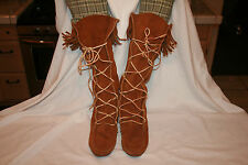 "Minnetonka Moccasin Chestnut Brown Fringe Knee High Boho Hippie Boots 7 17"" Tall"