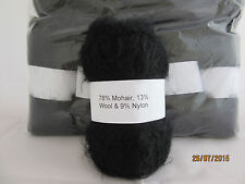 Mohair Wool Yarn 50g Ball Black 78% Mohair Double Knitting (2NM)