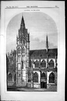 Antique Old Print Exterior Caudebec Seine Cathedral Architecture 1852 Builder