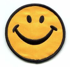 """HAPPY SMILEY FACE yellow/black EMBROIDERED IRON-ON PATCH 3"""" p-15 have a nice day"""