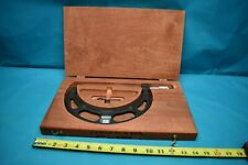 """USED STARRETT BLADE MICROMETER 486 5-6"""" WITH WOODEN CASE"""