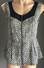Dress to Impress Navy & Ivory TEMT Sheer Net Sleeveless Peplum Waist Top Size 10