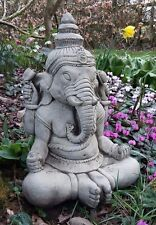 Stone Garden Large Meditating Ganesh Elephant Praying Buddha Statue Ornament