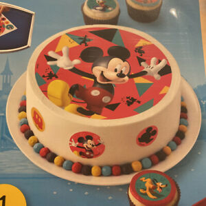 """Disney Mickey Mouse Edible 8"""" Cake Topper Birthday Decorations Sheet Circle"""