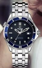 U.K.SEKARO Pilot Military Mechanical Sports Divers Style Watch With Blue Bezel