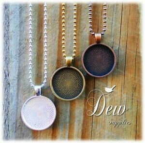 """10 Round Pendant Trays with Matching Ball Chain - 1"""" 25mm Bezel dewsupplies"""