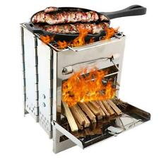 Outdoor Portable Grill Rack Stainless Steel Stove Pan Camping Roasters Picnic