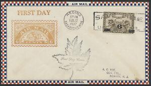 1932 #C3 6c on 5c Overprint Airmail FDC, Roessler Cachet + Leaf, Regina Sask