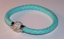 Crystal Magnetic Clasp Bracelet Light Blue Leather Platted White